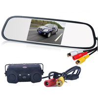 4.3 inch LCD Car Rearview Mirror Monitor Video Parking+3in1 Video Parking Assistance Sensor Backup Radar With Rear View Camera