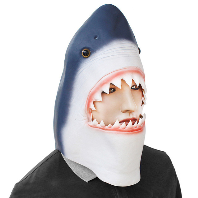 US $18 59 |Latex Animal Mask Costume Accessory Novelty Halloween Party Head  Mask Shark Fancy Dress Party Ocean Fish Cosplay Mask-in Party Masks from