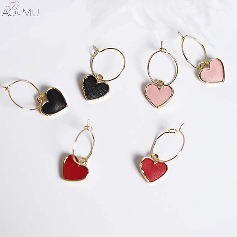 Peach Heart Love Circle Earrings Gifts