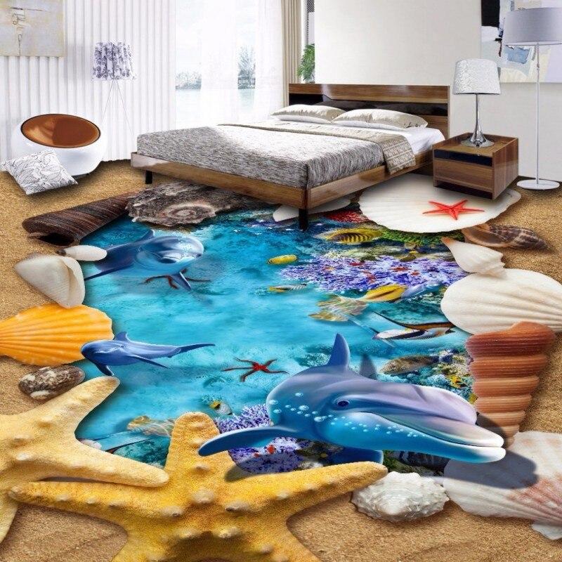 ФОТО Free Shipping Sea World Dolphin 3D floor painting wear non-slip waterproof bathroom living room square lobby flooring mural