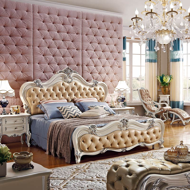 Furniture Flesh Pink Royal Wooden Bed