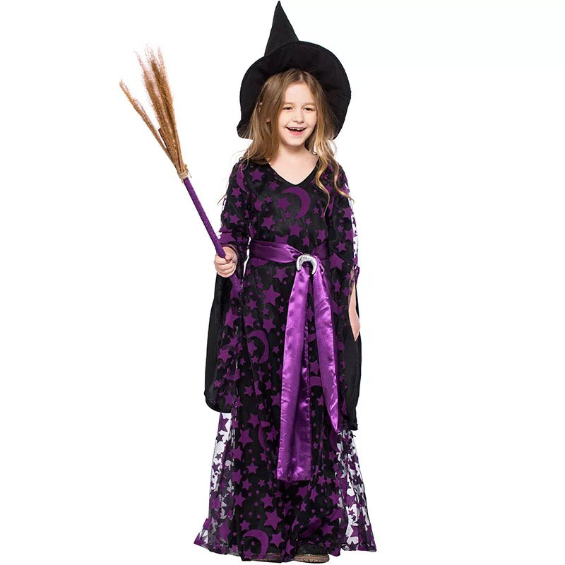 ab4d352d246 US $22.95 |Teen Girls Halloween Magic Witch Costume Children Fancy Purple  Dress Up Party Masquerade Sparkle Clothing Hat Set Gift For Kids-in Girls  ...