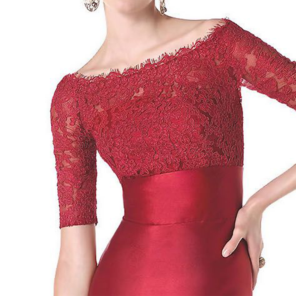 244221f007d7d US $129.8 |Elegant Red Satin Lace Formal Dresses With Sleeves Long Boat  Neck Women Evening Dress For Dinner Party Pretty Evening Gowns PE21-in  Evening ...