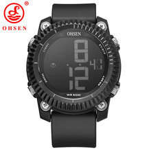 OHSEN Men's Sport Watch Military Silicone Quartz Digital Led Wristwatch Clock Brand Chronograph Auto Date Alarm Watches 1710(China)