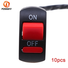 POSSBAY 10pcs Motorcycle Switches Handlebar Mounting On-Off Button Switch Lamp Universal for 7/8 22mm Controller