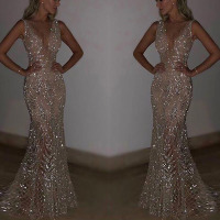 U SWEAR New Mermaid Sequins Golden Evening Dress Long Prom Party Dresses Evening Gown Formal Dress Women Elegant Robe De Soiree