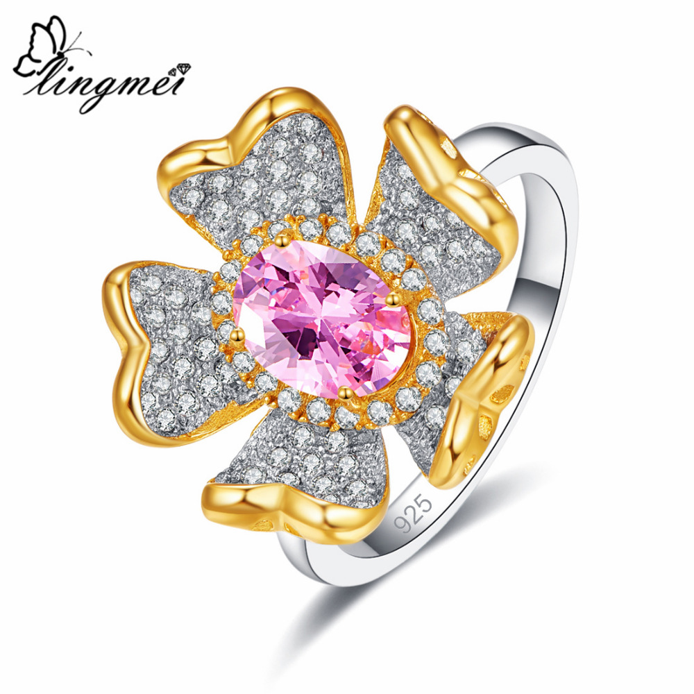 Lingmei 2019 Flower Fashion Women Jewelry Oval Pink Gold White Zircon Silver Ring Size 6 7 8 9 Wedding Engagement Ring in Engagement Rings from Jewelry Accessories