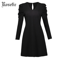 Rosetic Gothic Dress Black Women Spring A Line Pleated Heap Sleeve Sexy Dress Fashion Wild High