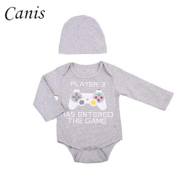 0008ff1e8 New Infant Baby Boy Girl Gray Long Sleeve Video Game Rompers + Hat ...