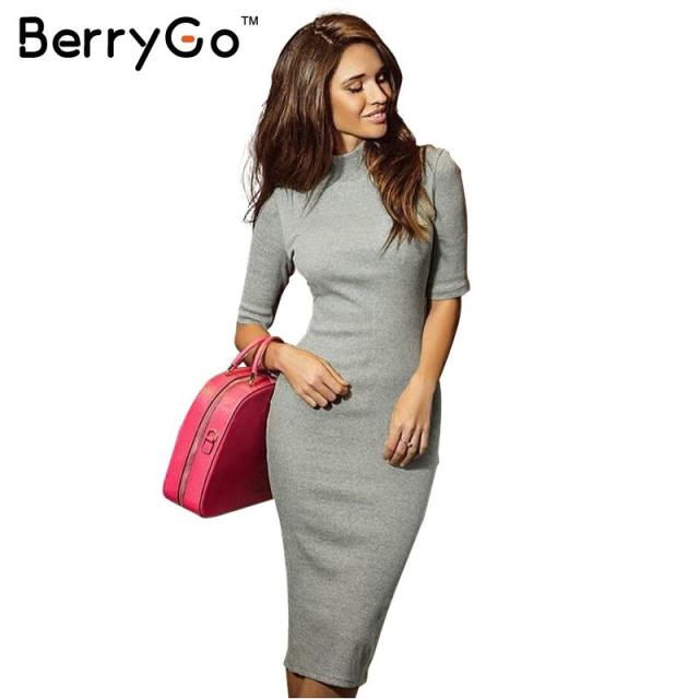 BerryGo turtleneck sexy christmas party knitted sweater dresses Elegant women winter evening bodycon OL dress vestidos