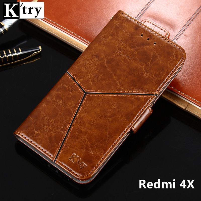 K'try For Xiaomi Redmi 4x Case Stand Case For Xiaomi Redmi 4x Hight Quality Flip Leather Cover For Xiaomi Redmi 4x 5.0''