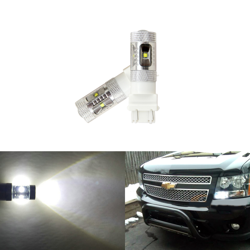 For Chevrolet <font><b>Tahoe</b></font> 2007-2014 White Led Daytime Running Lights Ultra Bright Reflector 3157 Led Bulbs Daylights Car-Styling image