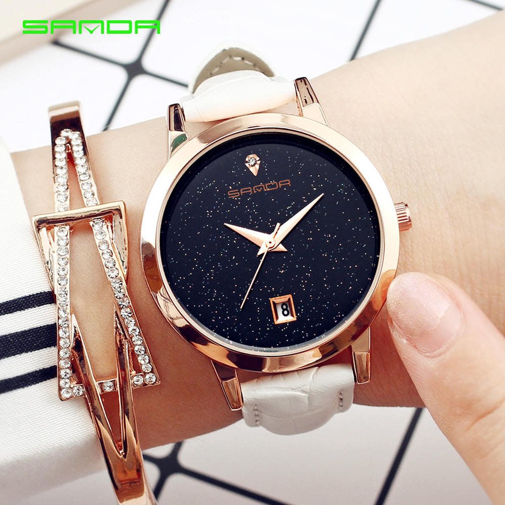 Brand luxury Women Watches ladies fashion simple Quartz Watch waterproof Gypsophila leather Wrist watches for women Clock 1