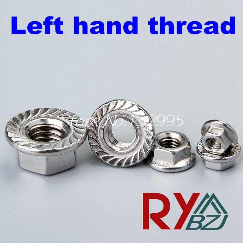 Stainless steel Left hand thread Hex Flange nut M4 M5 M6 M8 M10 M12 Lock nut SUS 304 DIN6923Stainless steel Left hand thread Hex Flange nut M4 M5 M6 M8 M10 M12 Lock nut SUS 304 DIN6923