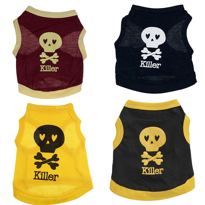 1pc Fashion Cool Killer Vest For Dogs Cotton Breathable Sports Shirts Dog Clothes Pet Products Bone Skull Puppy Dog Clothes