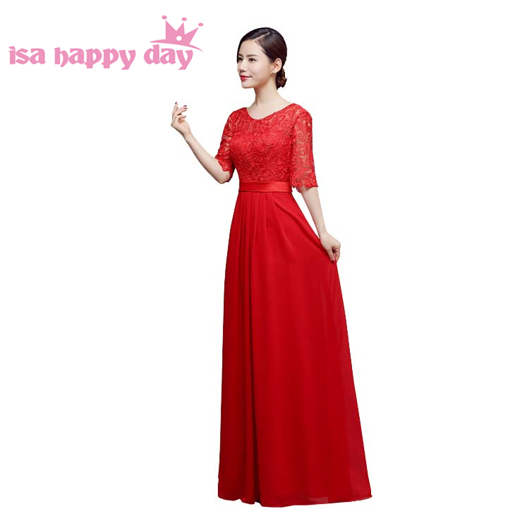 bridesmaid   half sleeve   dress   for women fitted   bridesmaids   red gowns new arrivals 2019 girls   bridesmaids     dresses   long H3920