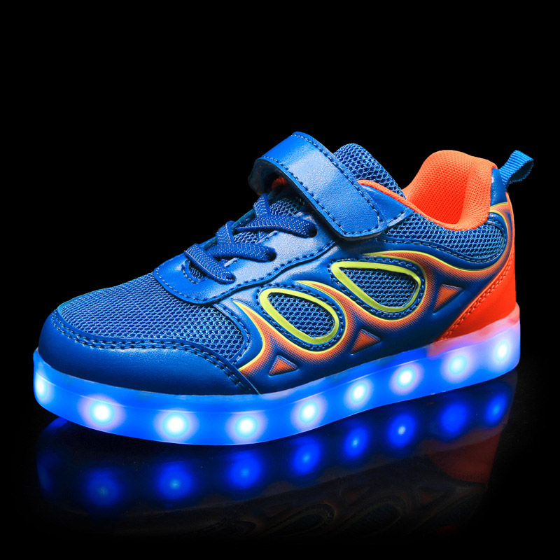BABAYA Flash Led Children Glowing Shoes Breathable Mesh Boys Girls Luminous Sneakers Light Shoes Kids Sport Led Shoes 1730 joyyou brand usb children boys girls glowing luminous sneakers teenage baby kids shoes with light up led wing school footwear