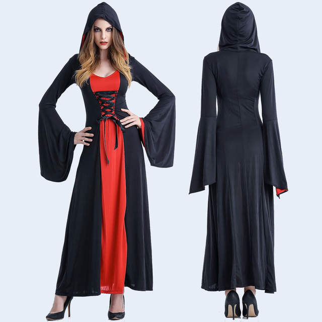Online Shop Halloween Costume Witch Medieval Dress Women Adult Plus ...