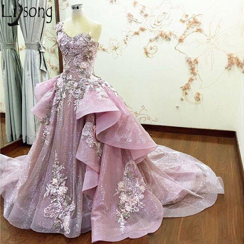 Elegant One Shoulder Chic   Prom     Dresses   with Detachable Train Ball Gown Ruffles Appliques Chic Formal Evening   Dress   Removable
