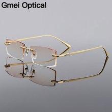 Gmei retângulo óptico ouro liga de titânio masculino diamante aparamento sem aro óculos quadro gradiente marrom matiz plano lentes q6607