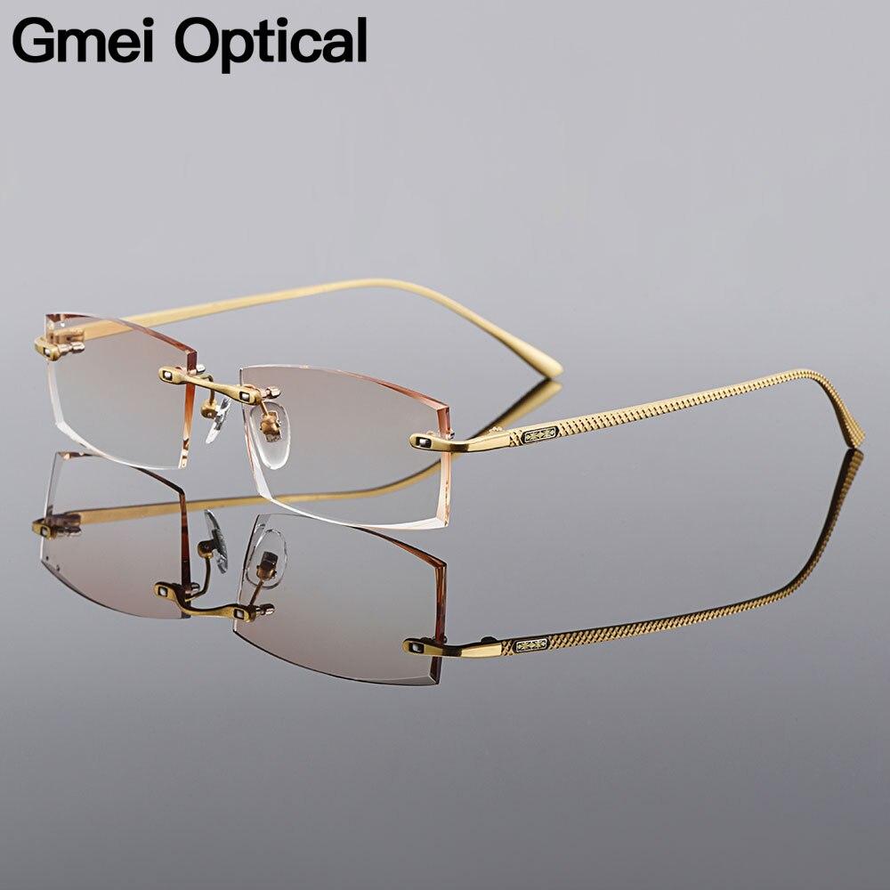 Gmei مستطيل بصري الذهبي سبائك التيتانيوم الرجال الماس التشذيب بدون إطار نظارات التدرج البني تينت بلانو العدسات Q6607-في إطارات النظارات من الملابس والإكسسوارات على AliExpress