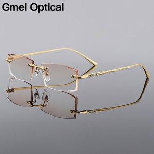 Image 1 - Gmei אופטי מלבן זהב טיטניום סגסוגת גברים של יהלומי זמירה ללא שפה משקפיים מסגרת שיפוע חום גוון Plano עדשות Q6607