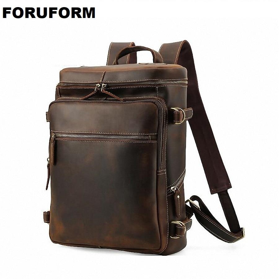 Men 100% Genuine Leather Backpack Youth Travel Rucksack School Book Bag Male Laptop Business bagpack mochila Shoulder Bag LI2274 стоимость