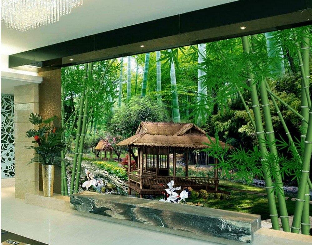 US $12.6 58% OFF|Frische Bambus Landschaft TV Hintergrund 3d wandbilder  wallpaper für wohnzimmer schöne landschaft tapeten-in Tapeten aus ...