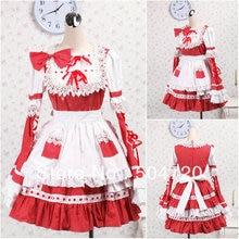 V-1205 Roten langhülse baumwolle Süße Schule Lolita Kleid/viktorianischen kleid Cocktailkleid/halloween-kostüm US6-26