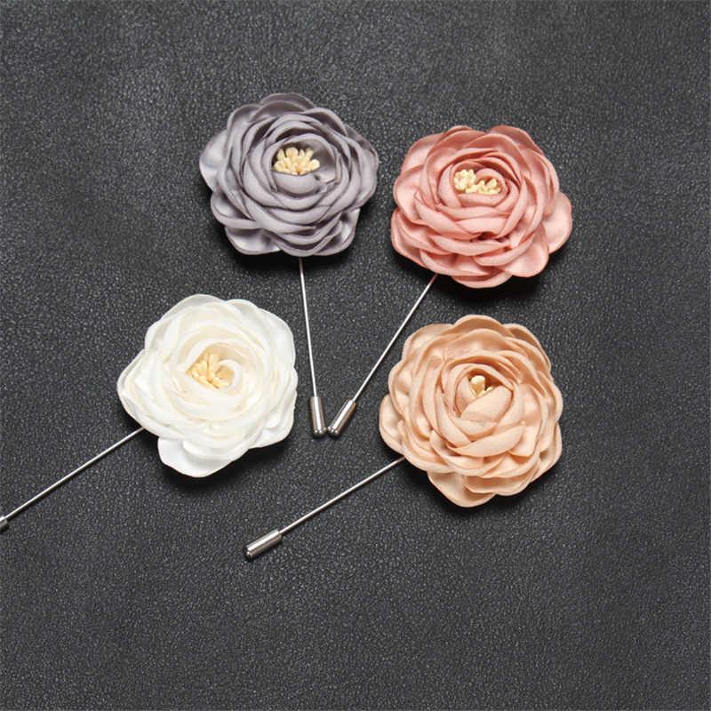 BoYuTe в розницу цельнокроеное платье Высокое качество ткани цветок розы нагрудный знак брошь Для мужчин Классические свадебная бутоньерка 17 одноцветное Цвета