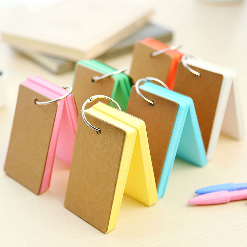Coreean Creative Candy Culoare Buckle Binder Note Cartele Flash portabile Memo Pads Cute Papetărie DIY Blank Card
