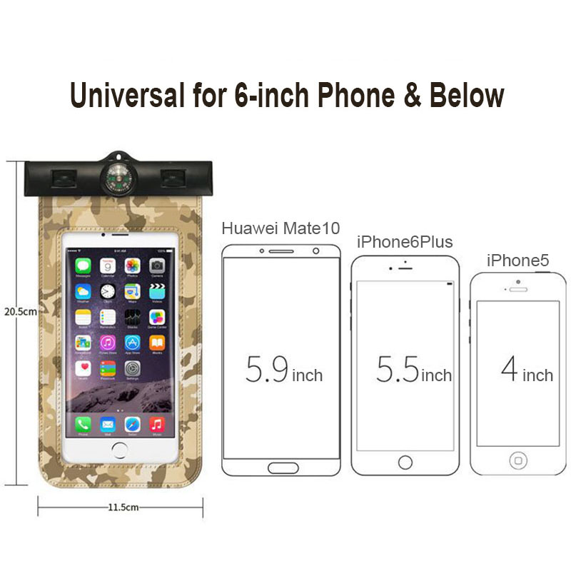 Camouflage Universal Waterproof Case For iPhone X 8 7 Plus Compass Lanyard Mobile Cover Pouch Bag Cases For Samsung S8 Coque