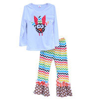 Wholesale Girls Boutique Clothing Thanksgiving Kids Costume Animal Pattern Pullover Rainbow-colored Pants Daily Outfits T003