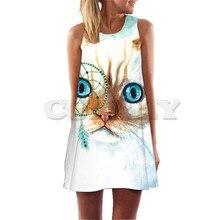 Womens Summer Dresses 2019 Fire Cat Floral Print Mini Club Party Sexy Sleeveelss A Line Boho Short Beach Dress Sundress