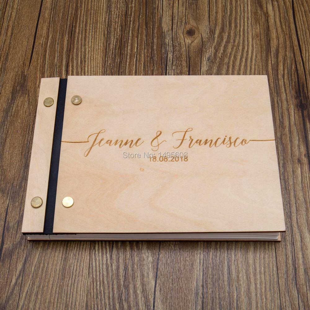 De mariage Livre d'or, Police Manuscrite, Gravé Bois, Moderne Calligraphie, De Mariage Douche Cadeau.