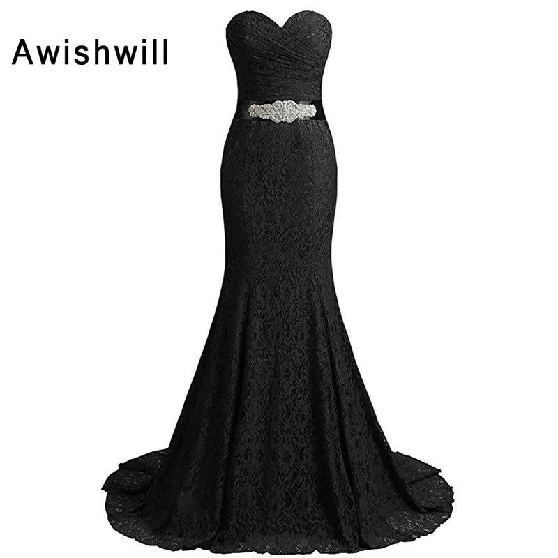Robes de Fiesta de Noche pas cher longue robe de soirée formelle cristal perlé ceinture femmes dentelle robe de soirée sirène robes de bal