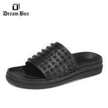 dreambox Summer breathable punk rivet sandals flip-flops for males's seaside sneakers