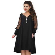 2019 Spring fashion plus size women dress mesh sleeve Elegant dress 5XL 6XL large size loose dress casual black dress vestidos(China)