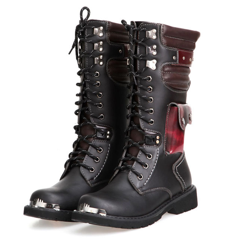 OUDINIAO Drop Shipping Shoes Men Buckle Lace Up High Combat Boots Fashion Mens Shoes British Metal Military Motorcycle Boots