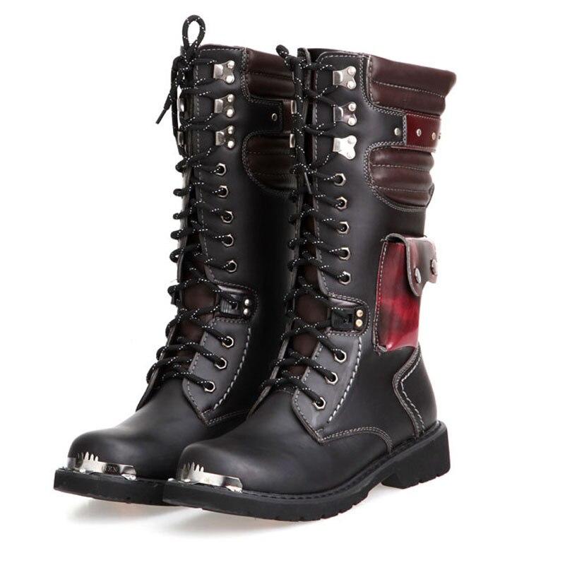 OUDINIAO livraison directe chaussures hommes boucle à lacets haute Combat bottes mode hommes chaussures britannique métal militaire moto bottes