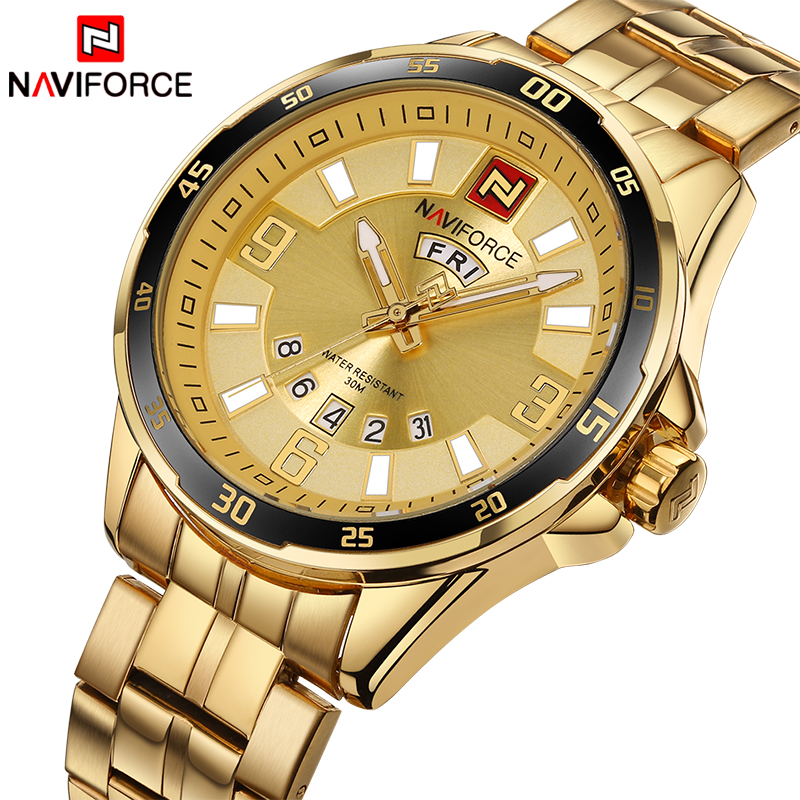 Top Brand NAVIFORCE Luxury Men Fashion Sports Watches Men's Quartz Date Clock Man Stainless Steel Wrist Watch Relogio Masculino luxury brand naviforce men stainless steel gold watch men s quartz clock man sports waterproof wrist watches relogio masculino