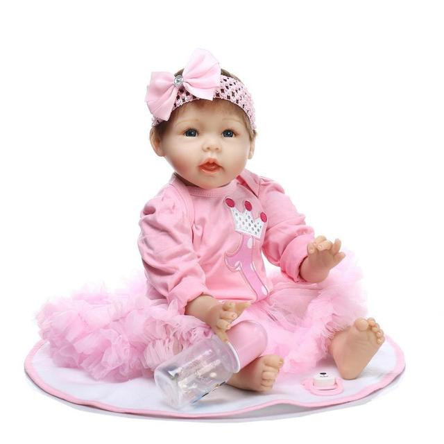 Silicone reborn babies 22 blue eyes pink dress brand fashion silicone reborn babies 22 blue eyes pink dress brand fashion child love dolls bebe gift negle Images