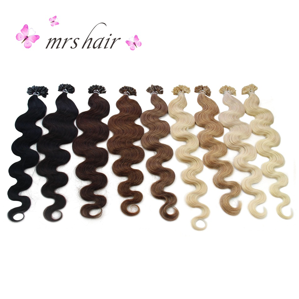 MRS HAIR Body Wave U Tip Hair Extensions 20 Keratin Hair On Capsule Machine Made Remy Fu ...