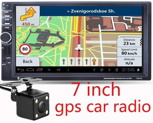 """imágenes para 2016 Nuevo 7 """"Pantalla táctil de coches reproductor de dvd 2din en el tablero de navegación gps Bluetooth USB SD FM TFT + cámara de visión trasera de entrada"""