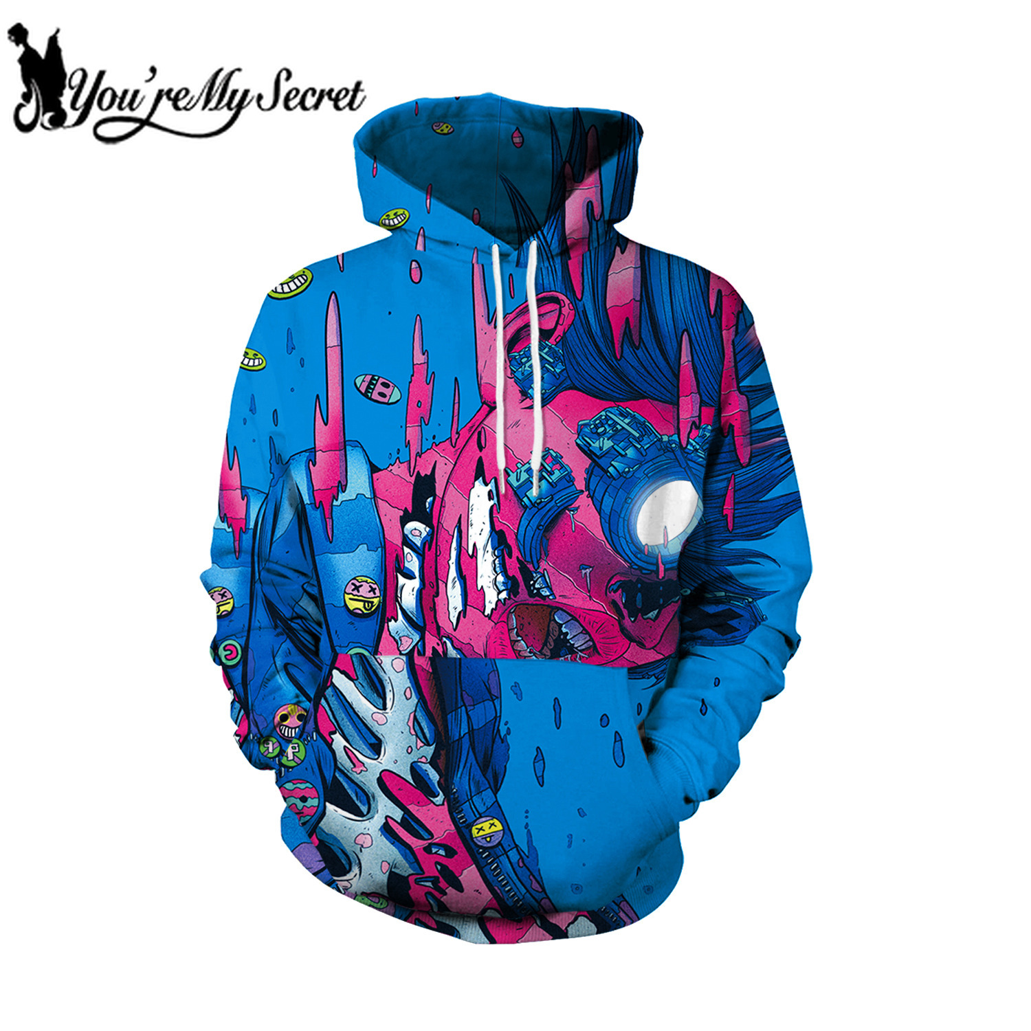 [You're My Secret] 2019 Steetwear Scrawl Deep See Cartoon Unisex Hooded Hoodie Fashion Design for Women Sweatshirt with Hood