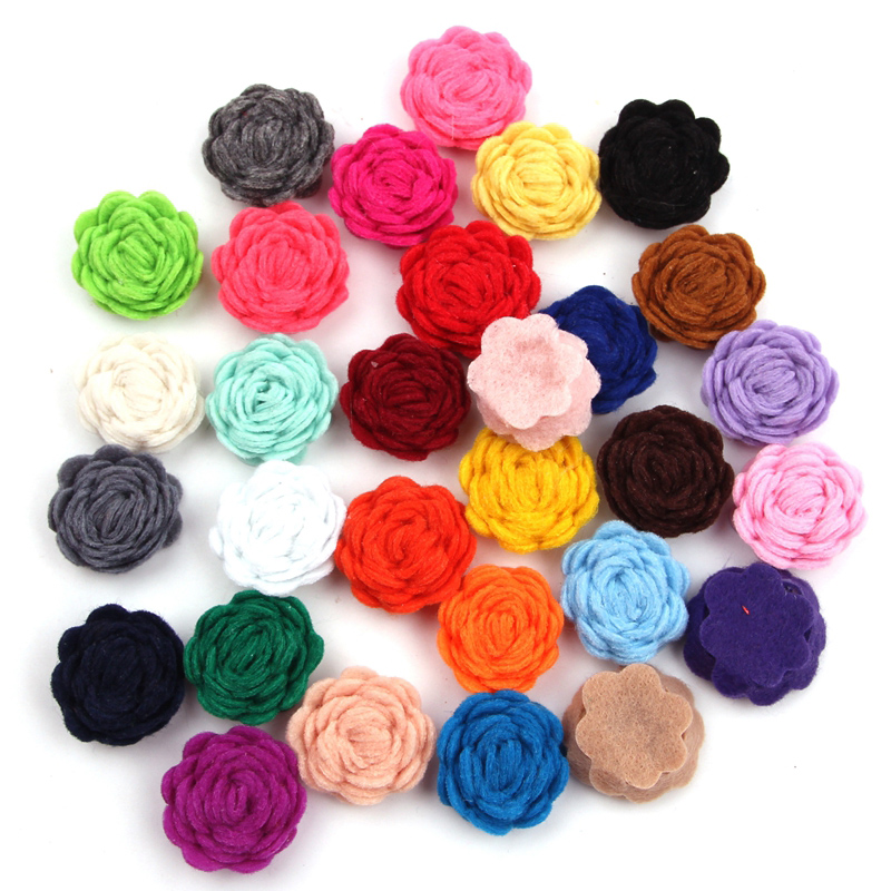"""30pcs/lot New Arrival Chic 1"""" Tiny Felt Flower Without Clips Hair Accessories 2018 For Kids Hair Pin For Infantile DIY Headbands"""