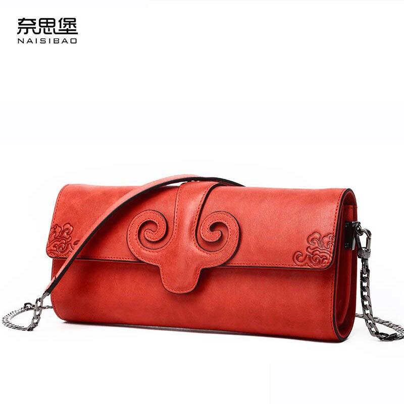 Naisibao новые роскошные модные женские сумки улучшенный теплые женские кошельки натуральная кожа клатч цепи женские кожаные плеча ба