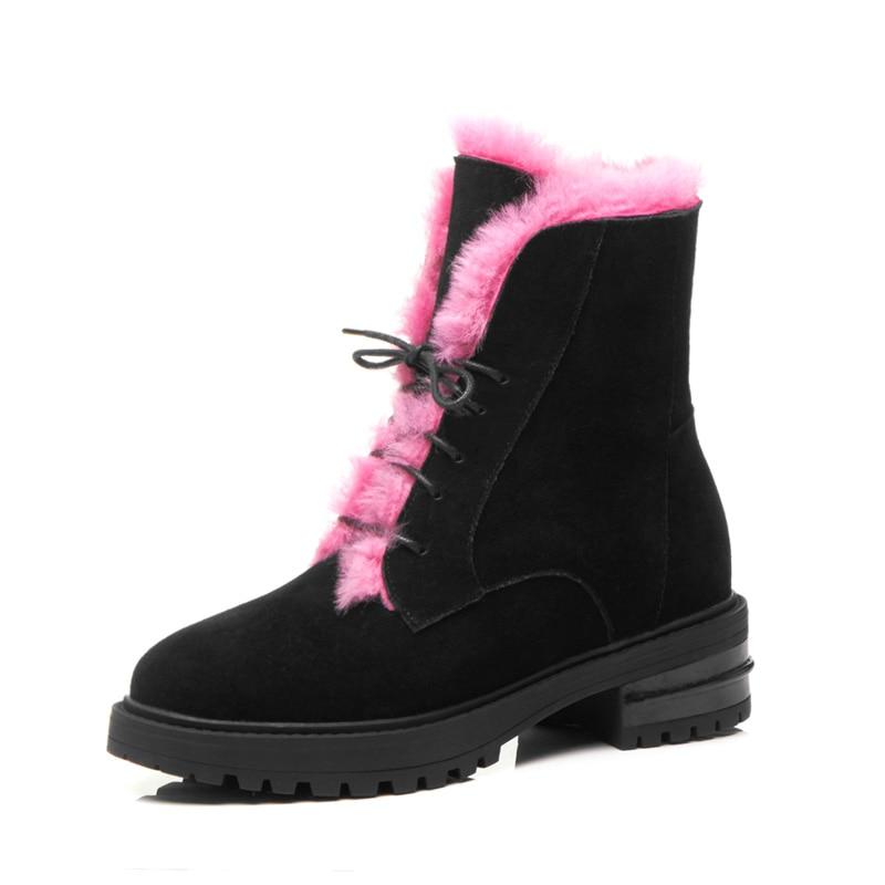 2018 bottes de fourrure chaussures d'hiver femmes en cuir de vache classique bottes à talons bas pour les femmes cheville bottes de neige en daim à lacets bout rond neige
