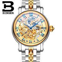 Geneva Binger Classic Golden Silver Watches Auto Mechanical Montre Relojes Mens Hollow Skeleton Man Switzerland Wrist