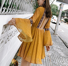 New women clothes 2019 Spring and summer new style Beach dress Bohemian midi Open back Floral chiffon